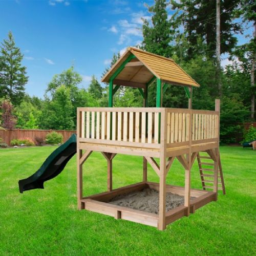 Jumbo Jungle Lookout Playhouse With Sandpit and Wavy Slide